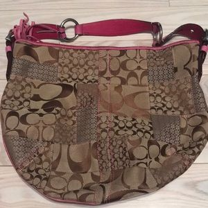 Coach signature print hobo bag